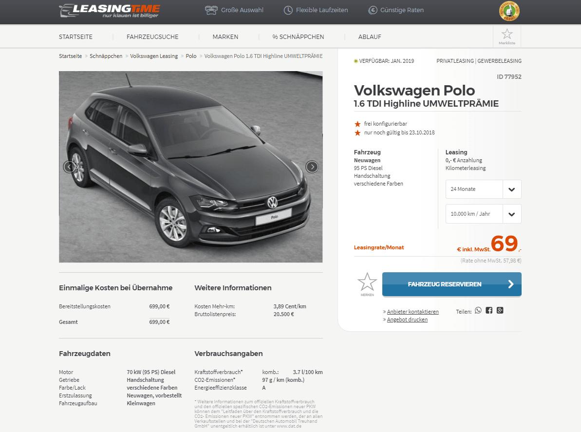 volkswagen polo und golf leasing f r 69 euro brutto im. Black Bedroom Furniture Sets. Home Design Ideas