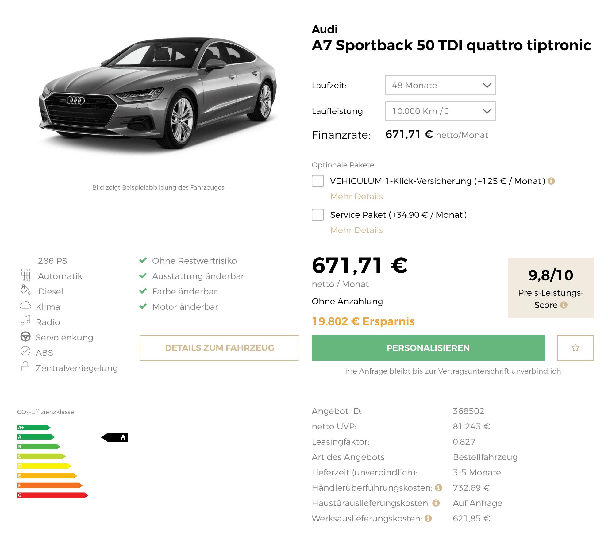 Audi A7 Sportback 50 TDI Quattro Leasing Für 672 Euro Im