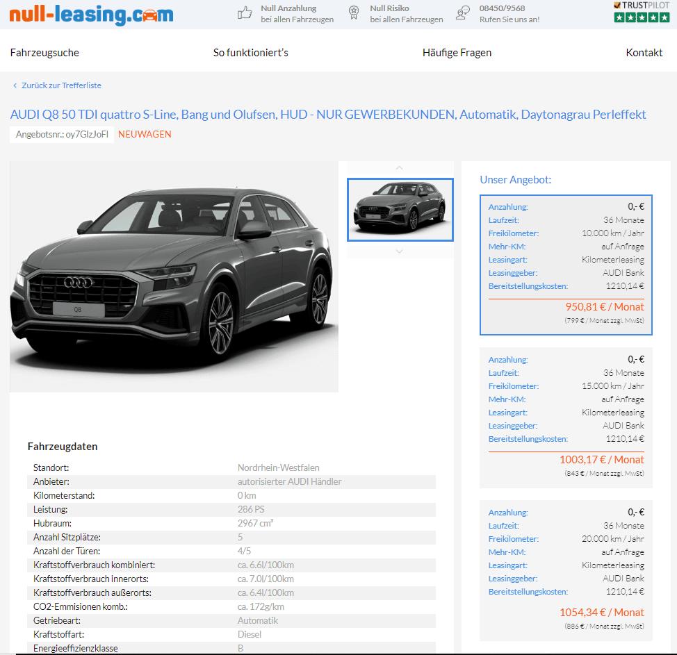 Audi Q8 50 TDI Quattro S-Line Leasing Für 799 Euro Netto