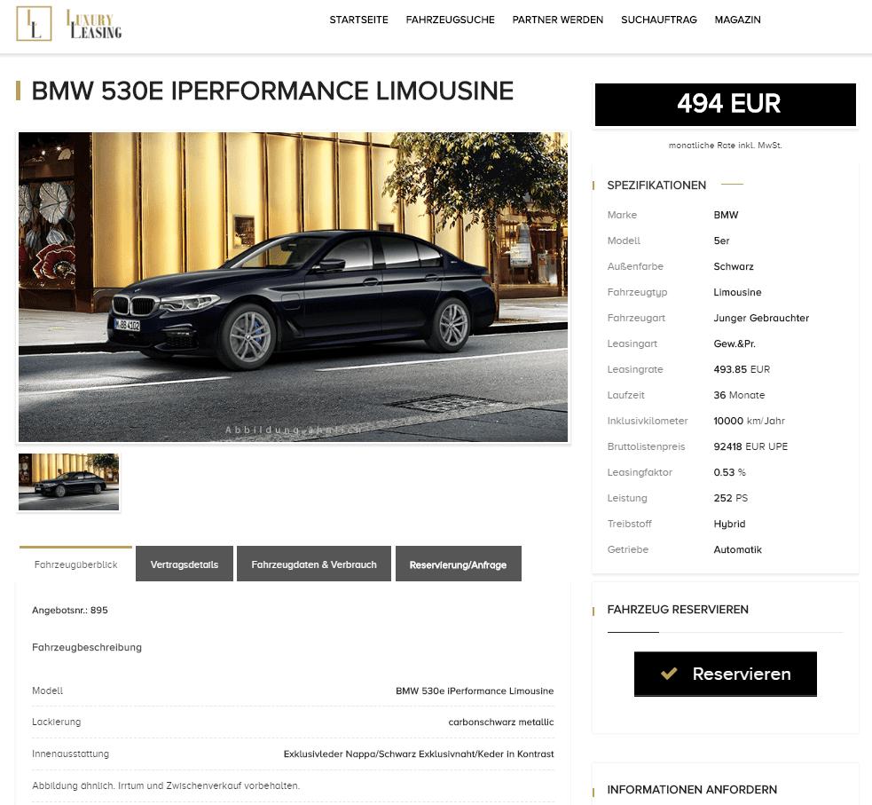 bmw 530e iperformance limousine leasing f r 493 85 euro. Black Bedroom Furniture Sets. Home Design Ideas