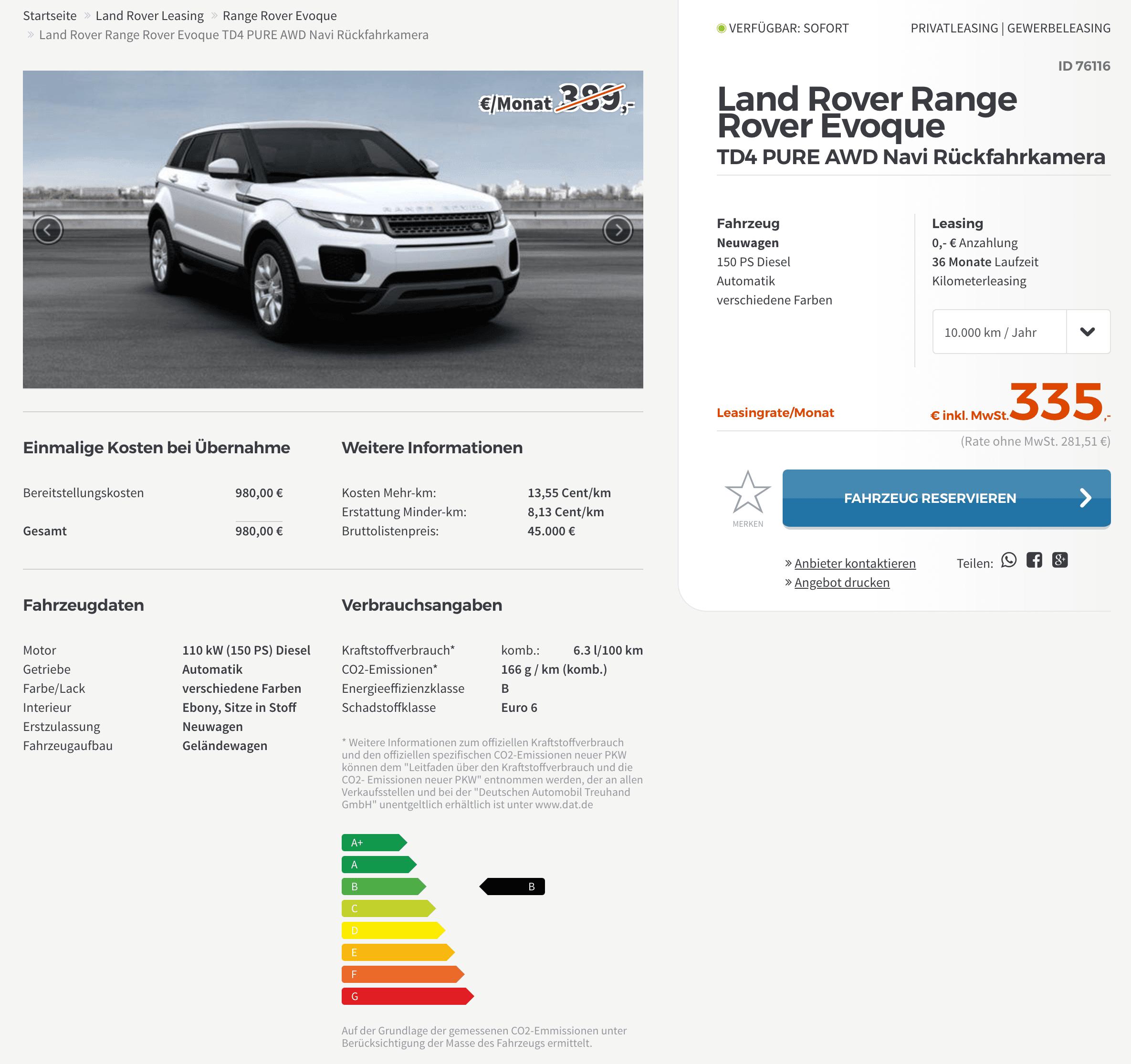 Land Rover Range Rover Evoque TD4 Pure Leasing Für 335
