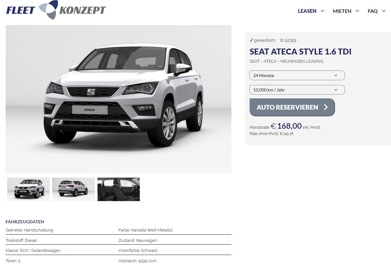 seat ateca style leasing f r 168 euro brutto im monat. Black Bedroom Furniture Sets. Home Design Ideas