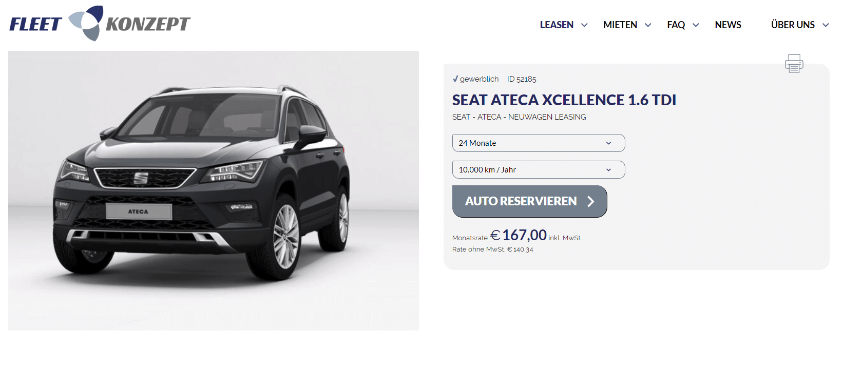 seat ateca xcellence leasing f r 140 34 euro netto im. Black Bedroom Furniture Sets. Home Design Ideas
