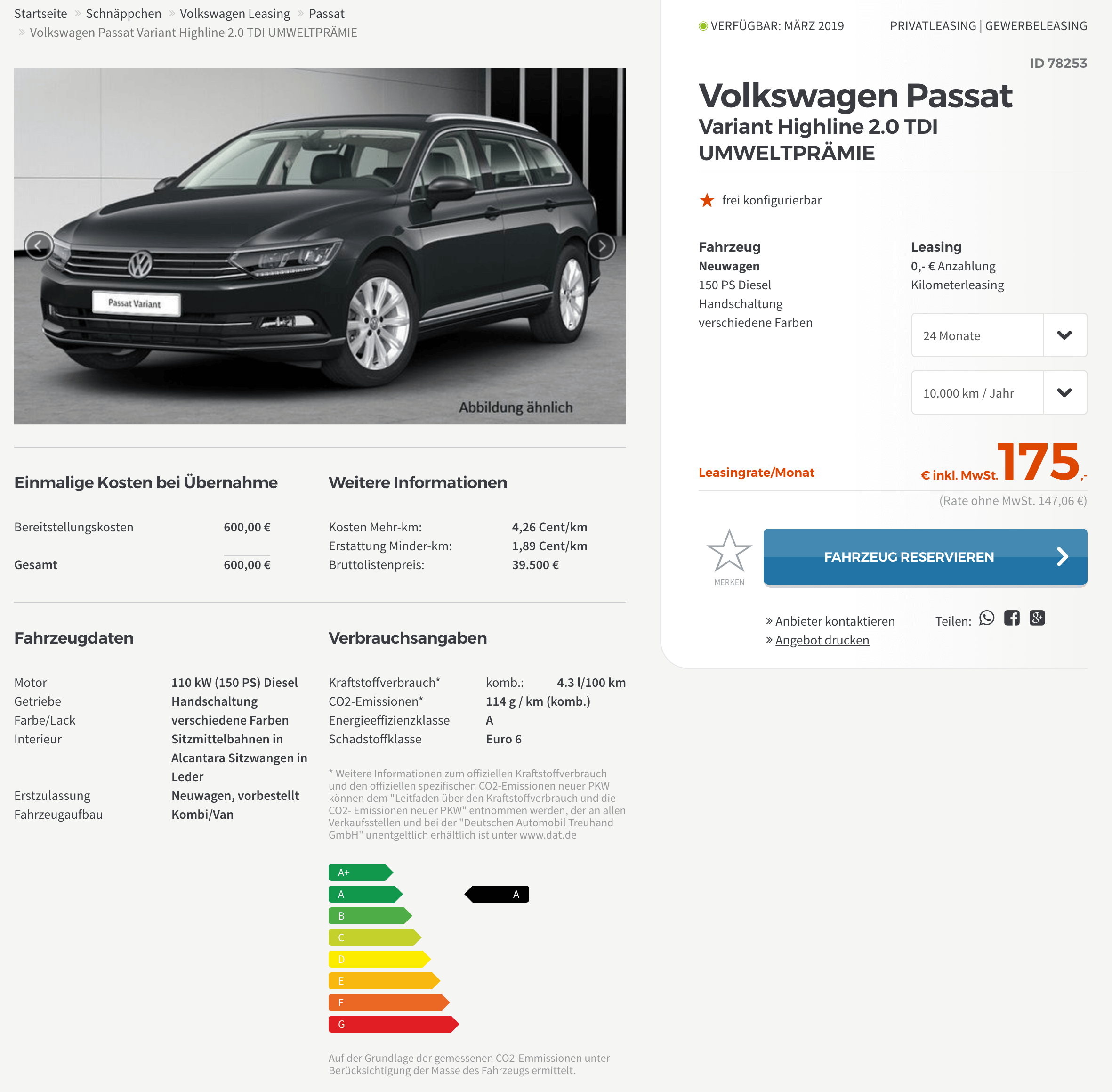 vw passat variant highline leasing f r 175 euro im monat. Black Bedroom Furniture Sets. Home Design Ideas