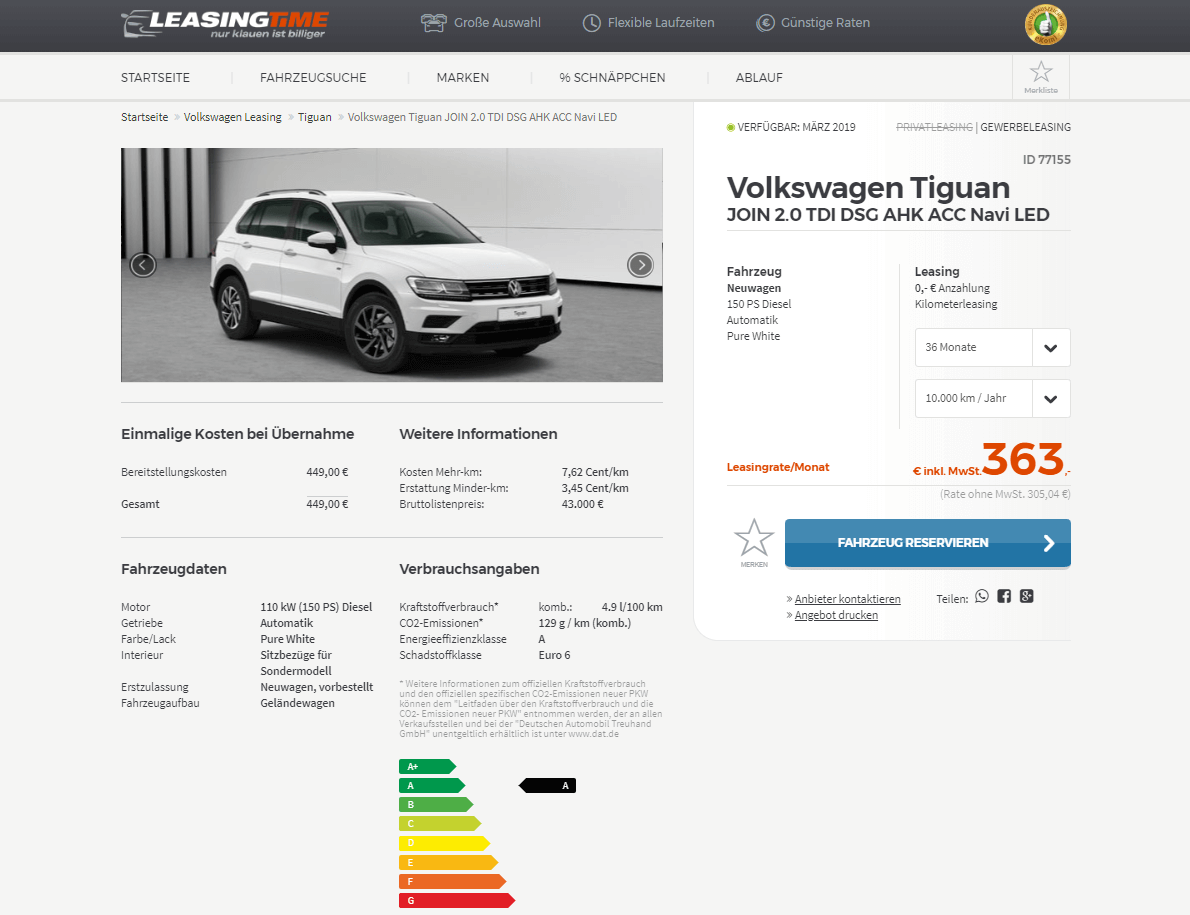 volkswagen tiguan join leasing f r 305 04 euro netto im. Black Bedroom Furniture Sets. Home Design Ideas