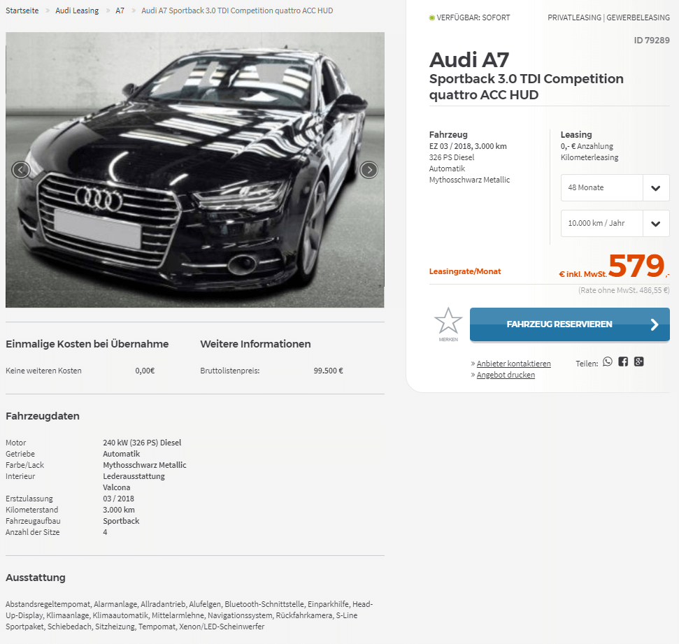 Audi A7 Sportback 3.0 TDI Competition Leasing Für 579 Euro