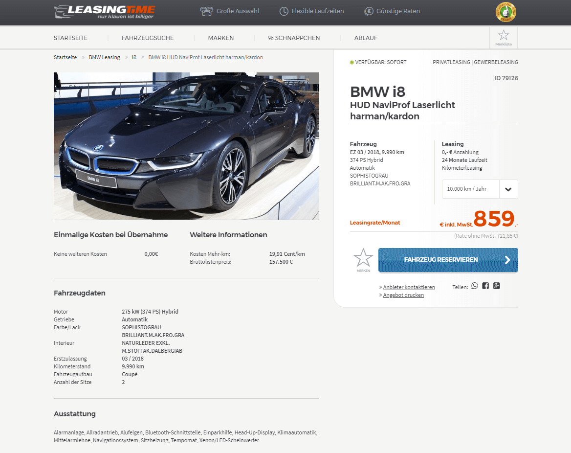 bmw i8 leasing f r 859 euro brutto im monat vorf hrwagen. Black Bedroom Furniture Sets. Home Design Ideas
