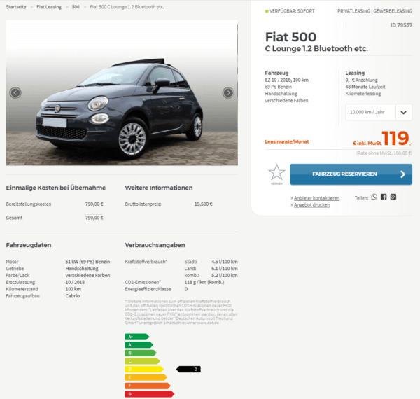 fiat 500 in verschiedenen varianten leasing ab 99 euro. Black Bedroom Furniture Sets. Home Design Ideas