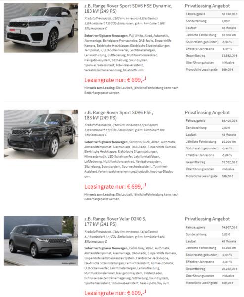 Land Rover Performance-Leasing Bei Bierschneider