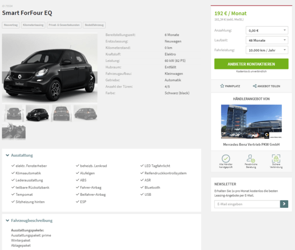 smart forfour eq leasing f r 192 euro brutto im monat. Black Bedroom Furniture Sets. Home Design Ideas