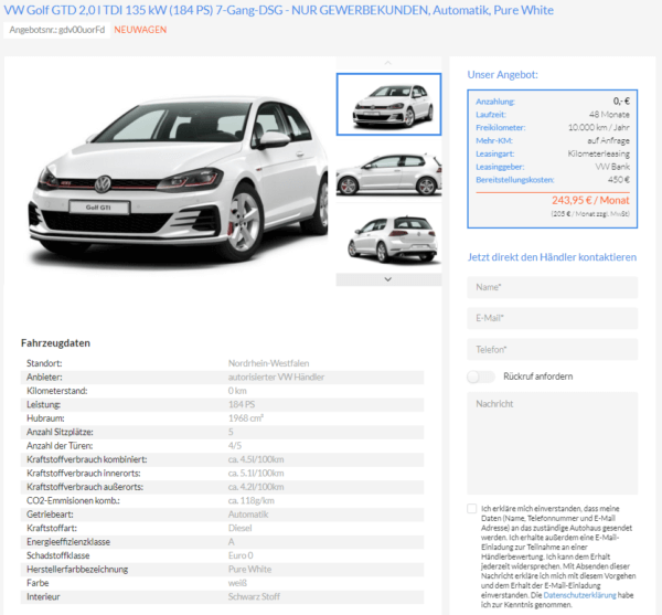 VW Golf GTD 2,0 L TDI Leasing Für 205 Euro Netto Im Monat