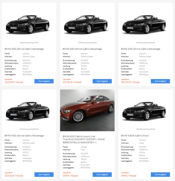 bmw 4er cabrio jahreswagen aktion leasing ab 355 euro im. Black Bedroom Furniture Sets. Home Design Ideas