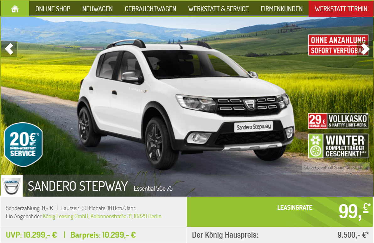 dacia sandero stepway leasing f r 99 euro im monat brutto. Black Bedroom Furniture Sets. Home Design Ideas