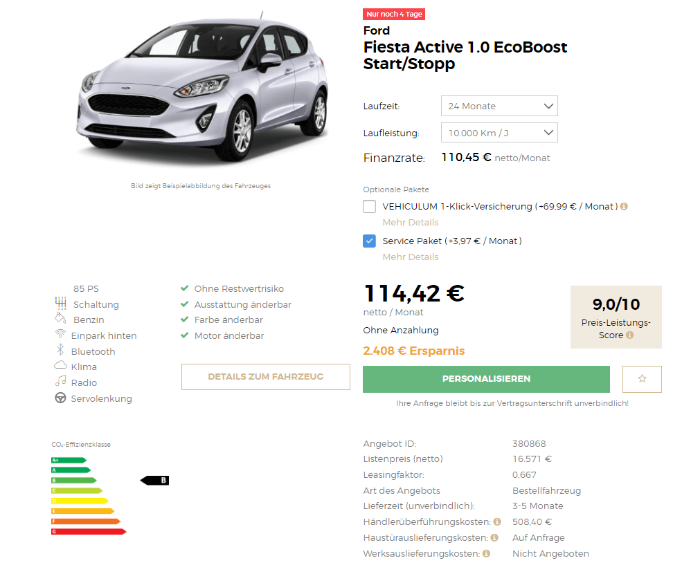 ford fiesta active leasing f r 114 euro im monat netto. Black Bedroom Furniture Sets. Home Design Ideas
