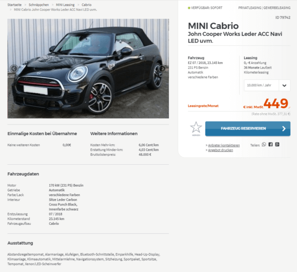 mini cabriolet john cooper works leasing f r 449 euro. Black Bedroom Furniture Sets. Home Design Ideas