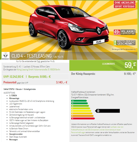 hot renault clio life leasing f r 59 euro netto im monat. Black Bedroom Furniture Sets. Home Design Ideas