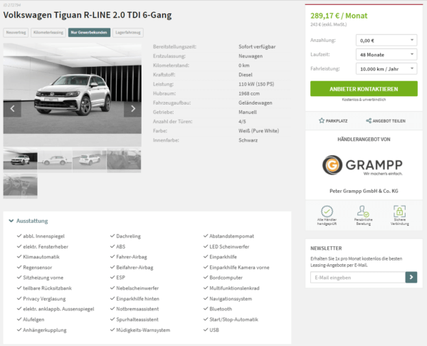 volkswagen tiguan r line 2 0 tdi leasing f r 243 euro. Black Bedroom Furniture Sets. Home Design Ideas