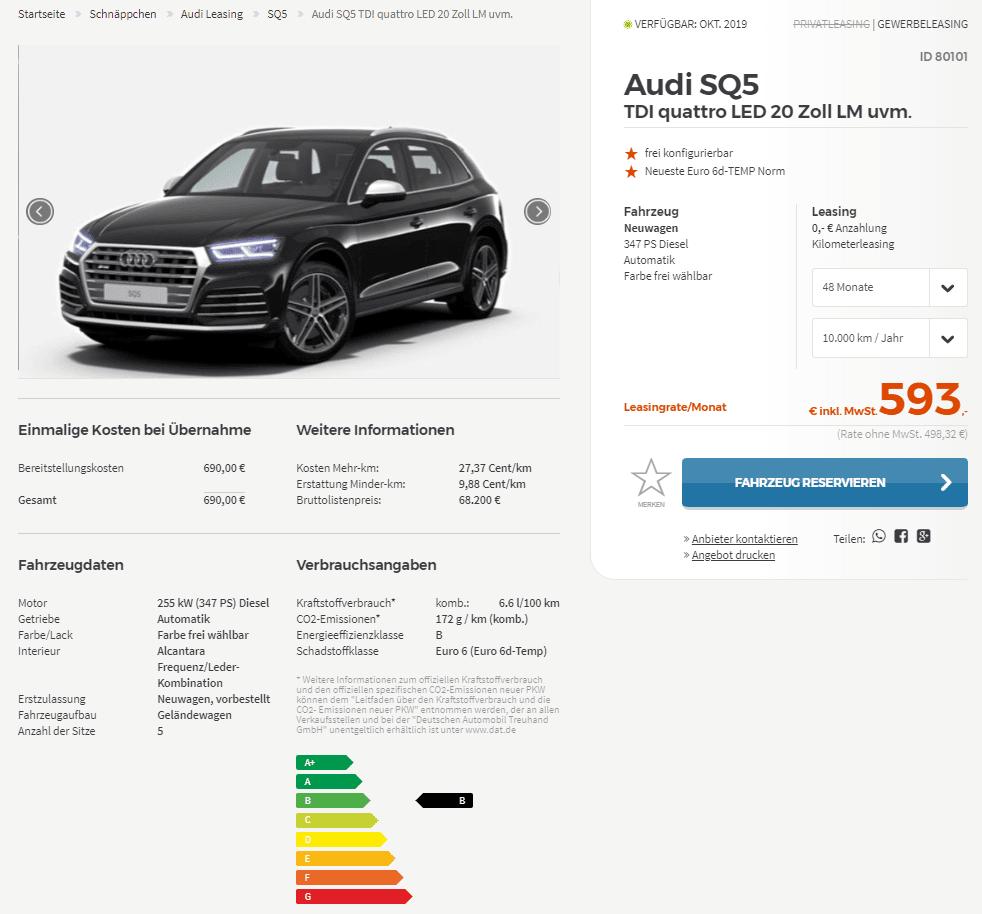 Audi SQ5 TDI Quattro Leasing Für 498 Euro Im Monat Netto