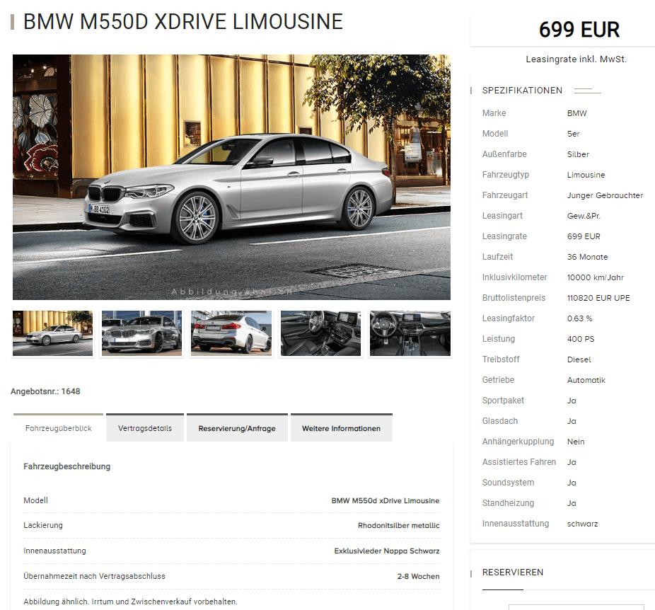 bmw m550d xdrive limousine leasing f r 699 euro im monat. Black Bedroom Furniture Sets. Home Design Ideas