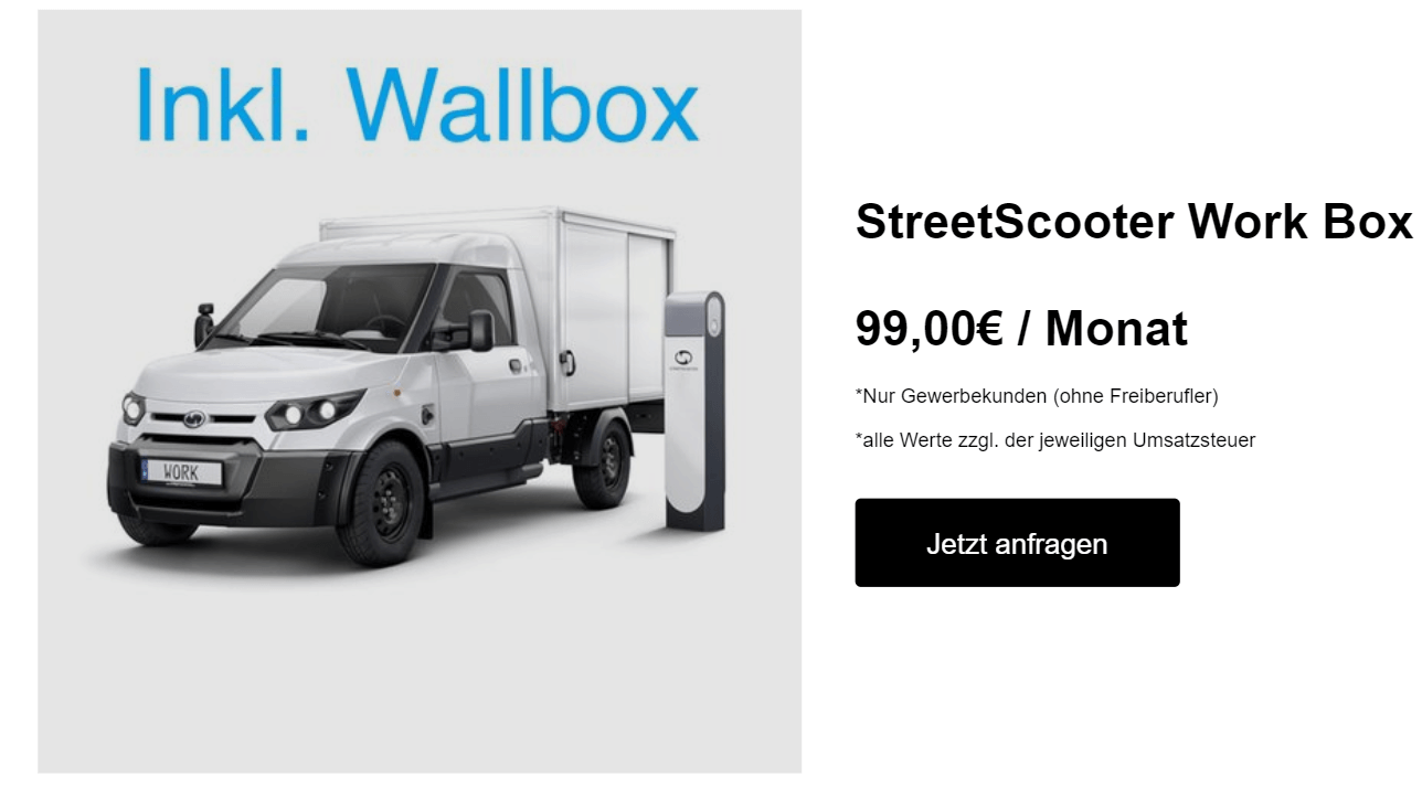 streetscooter work box inkl wallbox leasing f r 99 euro. Black Bedroom Furniture Sets. Home Design Ideas
