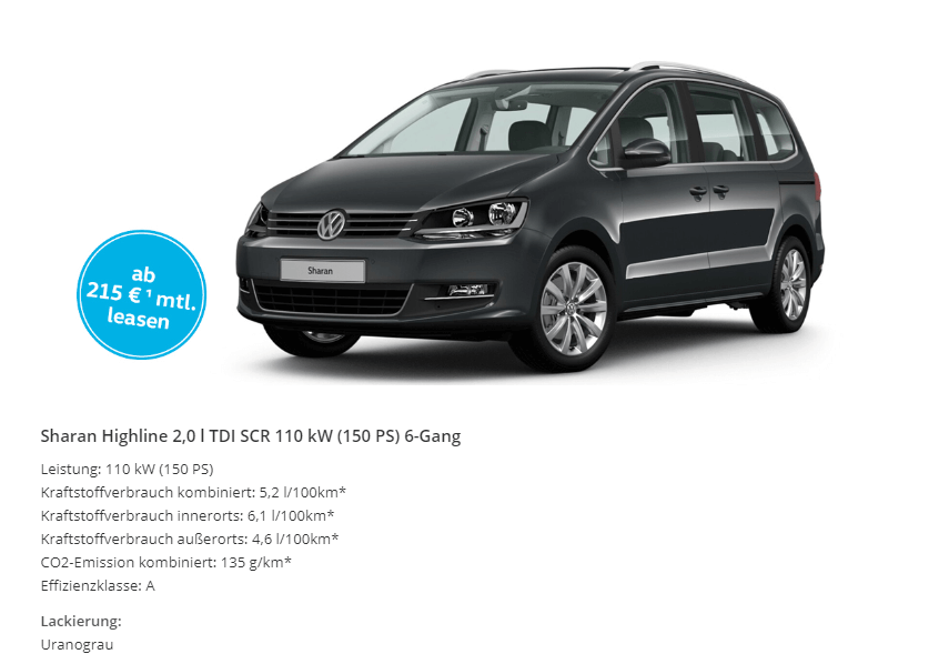 vw sharan highline details leasing. Black Bedroom Furniture Sets. Home Design Ideas