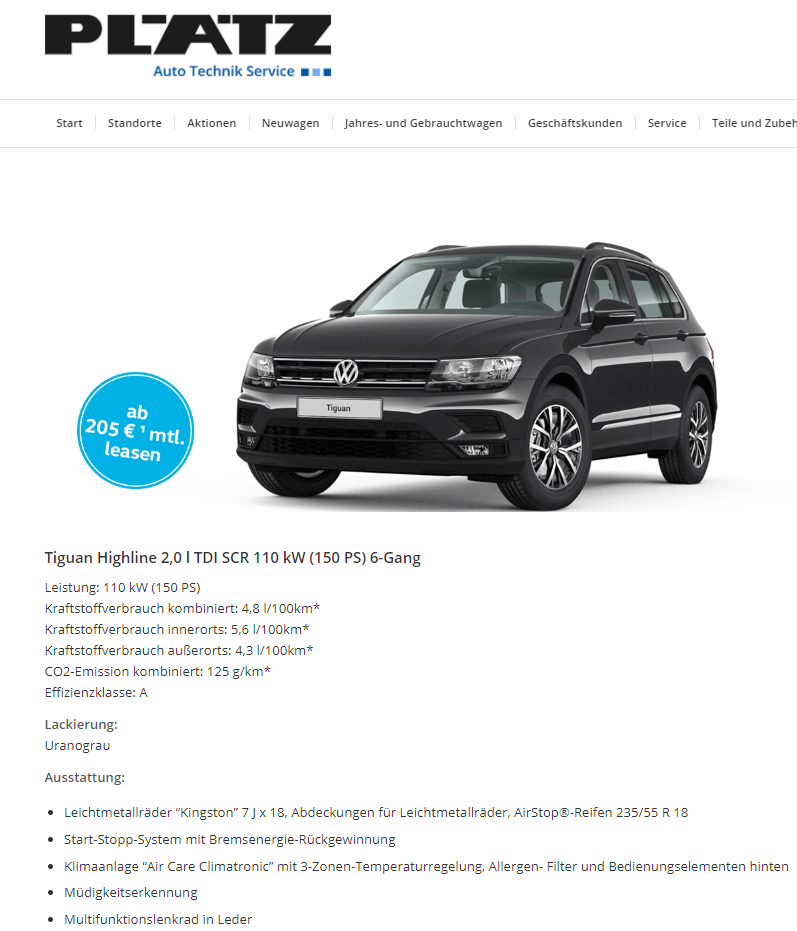 vw tiguan tdi details leasing. Black Bedroom Furniture Sets. Home Design Ideas