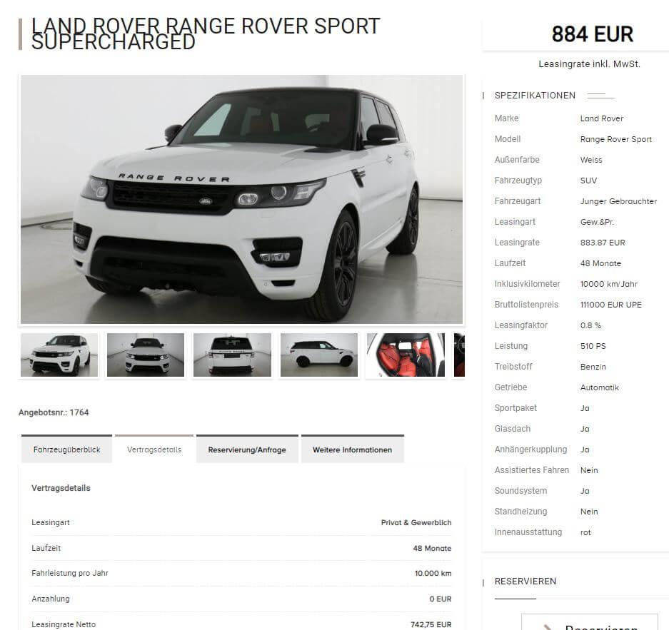 Land Rover Range Rover Sport Supercharged Leasing Für 884