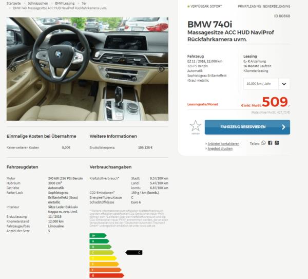 bmw 740i limousine jahreswagen details. Black Bedroom Furniture Sets. Home Design Ideas