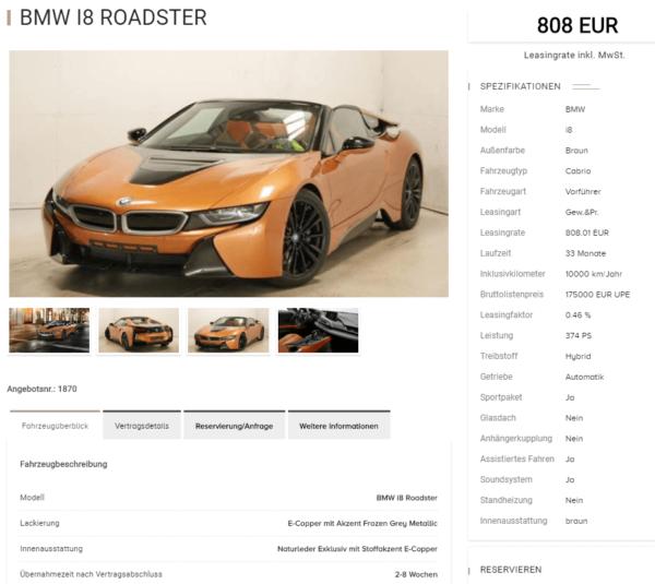 bmw i8 roadster luxuryleasing details. Black Bedroom Furniture Sets. Home Design Ideas
