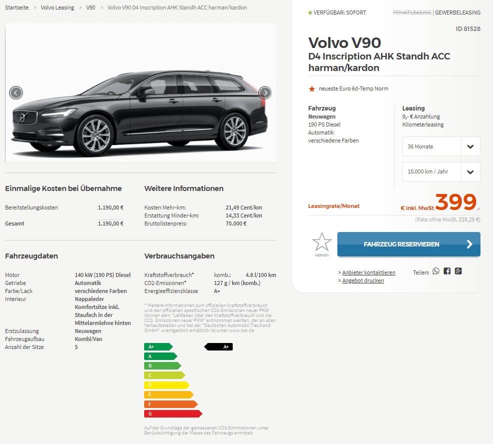 Volvo V90 D4 190 Inscription Automatic Diesel Estate: Volvo V90 D4 Inscription Leasing Ab 335 Euro Im Monat