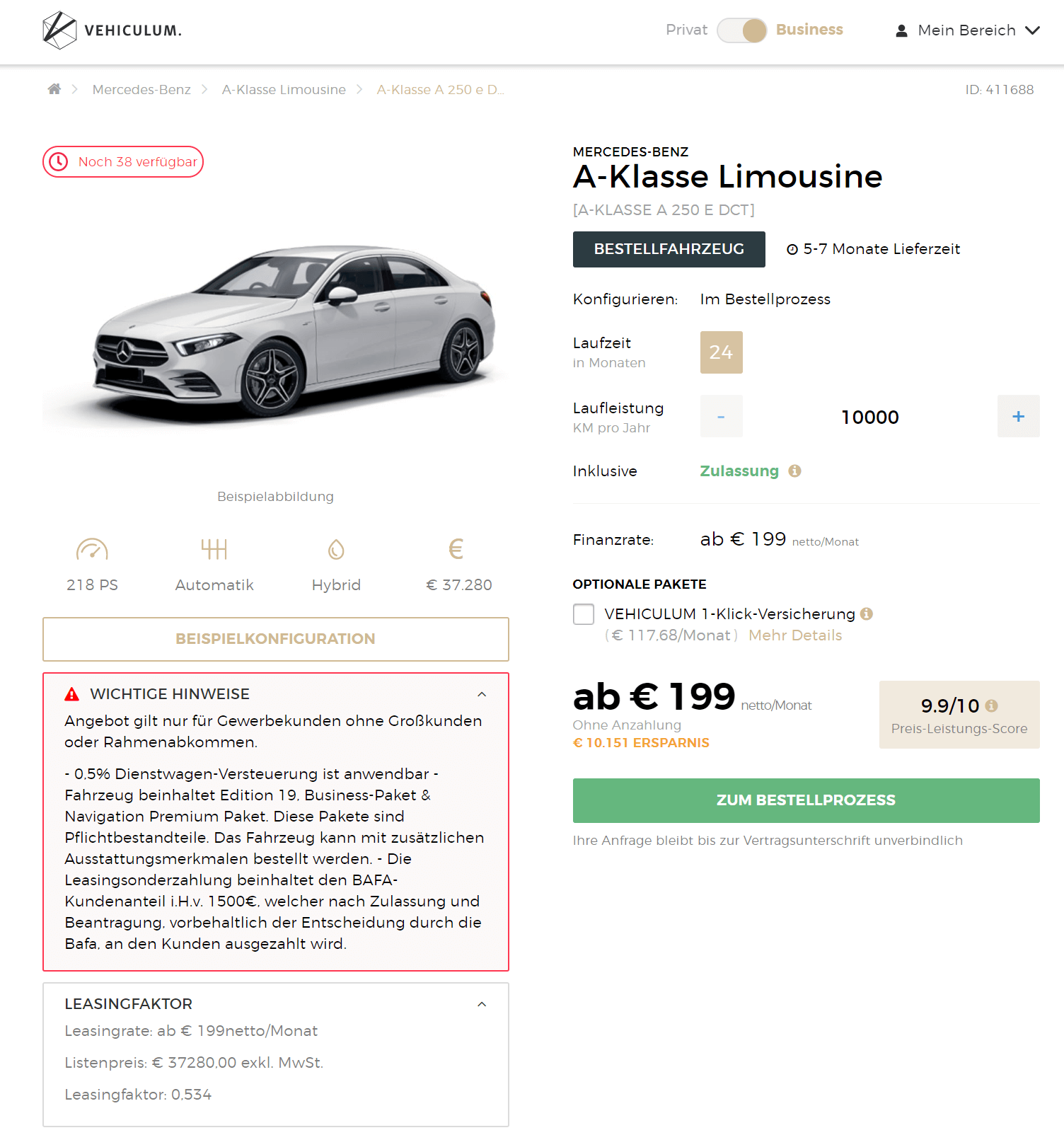 HOT! Mercedes-Benz A-Klasse A 250 E DCT Leasing Für 199