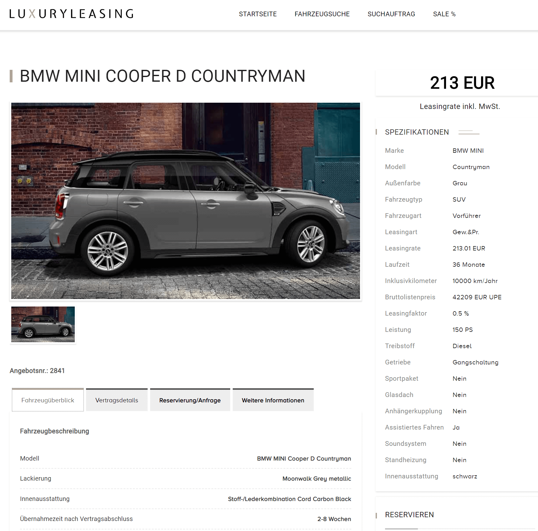 mini cooper d countryman leasing f r 213 01 euro im monat. Black Bedroom Furniture Sets. Home Design Ideas