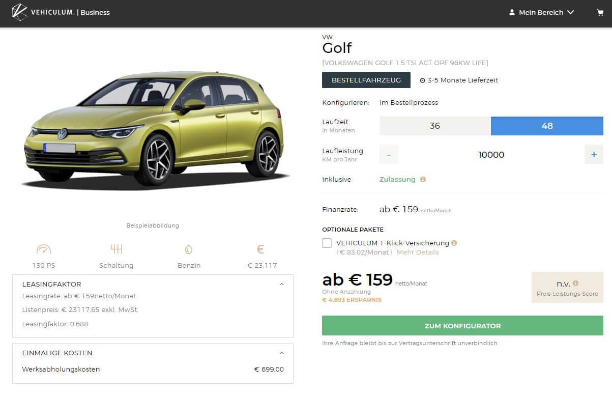 vw golf viii leasing f r 159 euro im monat netto. Black Bedroom Furniture Sets. Home Design Ideas
