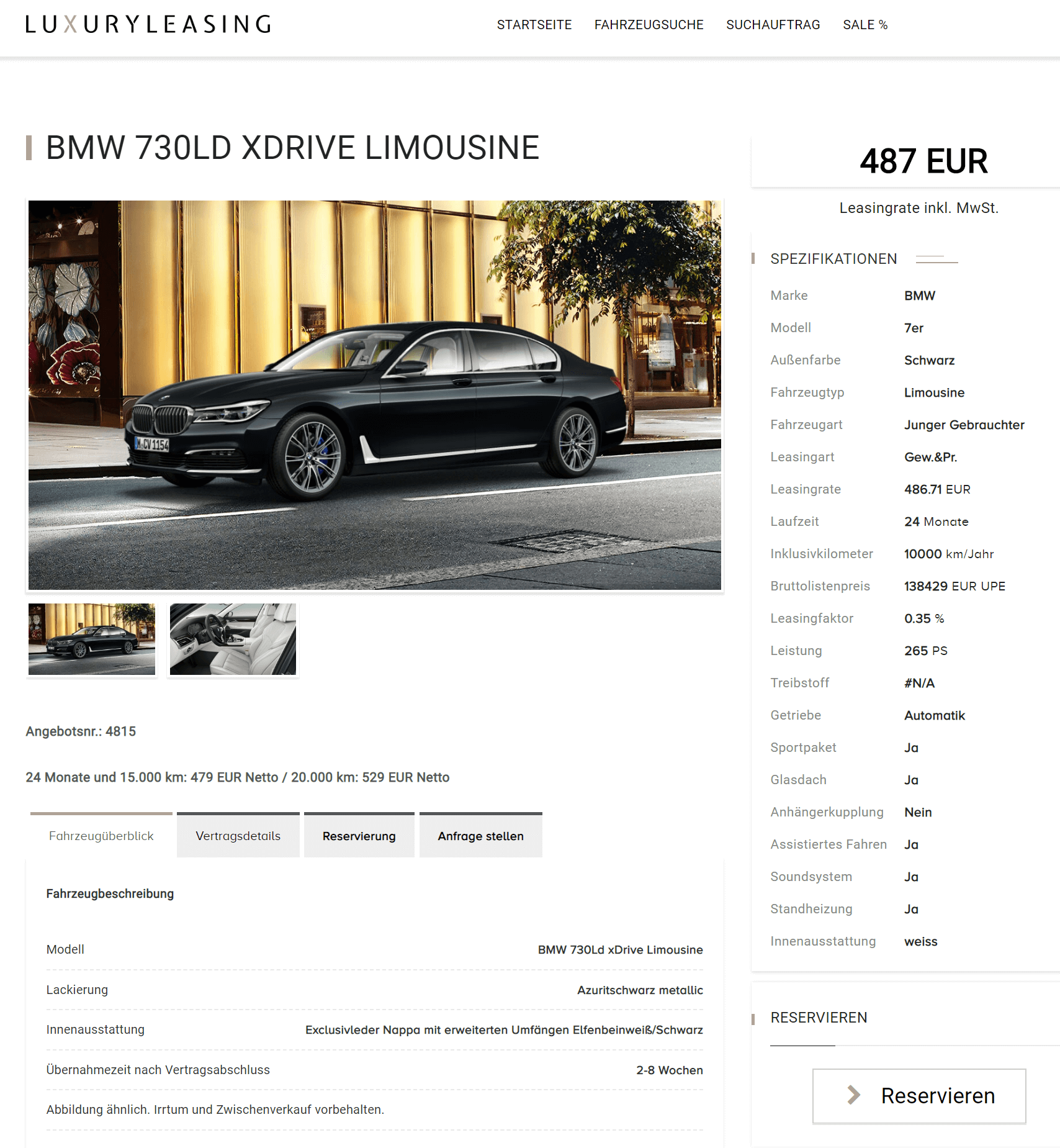 bmw 7er langversion aktion bei luxuryleasing leasing f r 486 71 euro im monat brutto. Black Bedroom Furniture Sets. Home Design Ideas