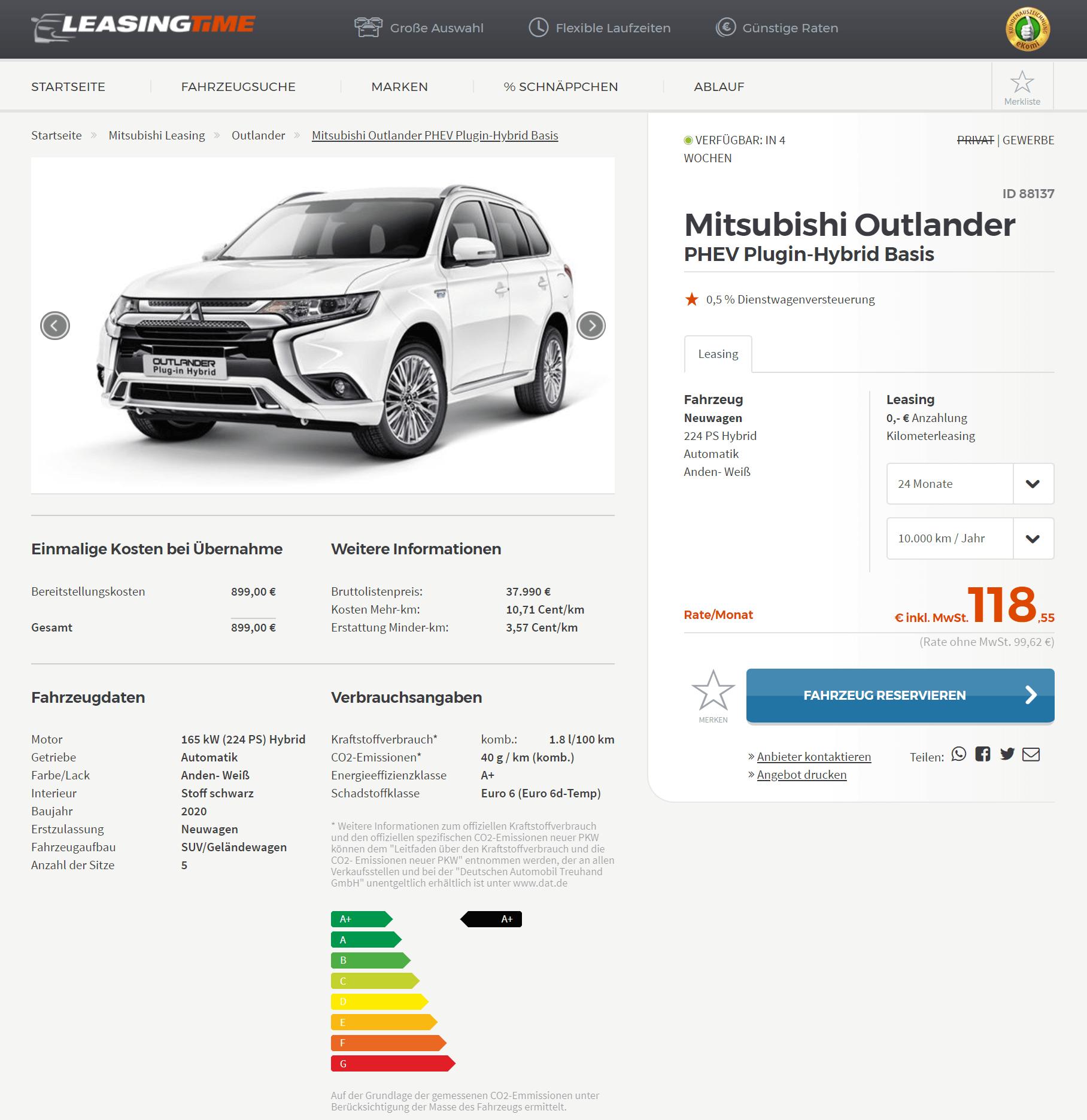 Mitsubishi Outlander Plug In Hybrid 2020 Leasing