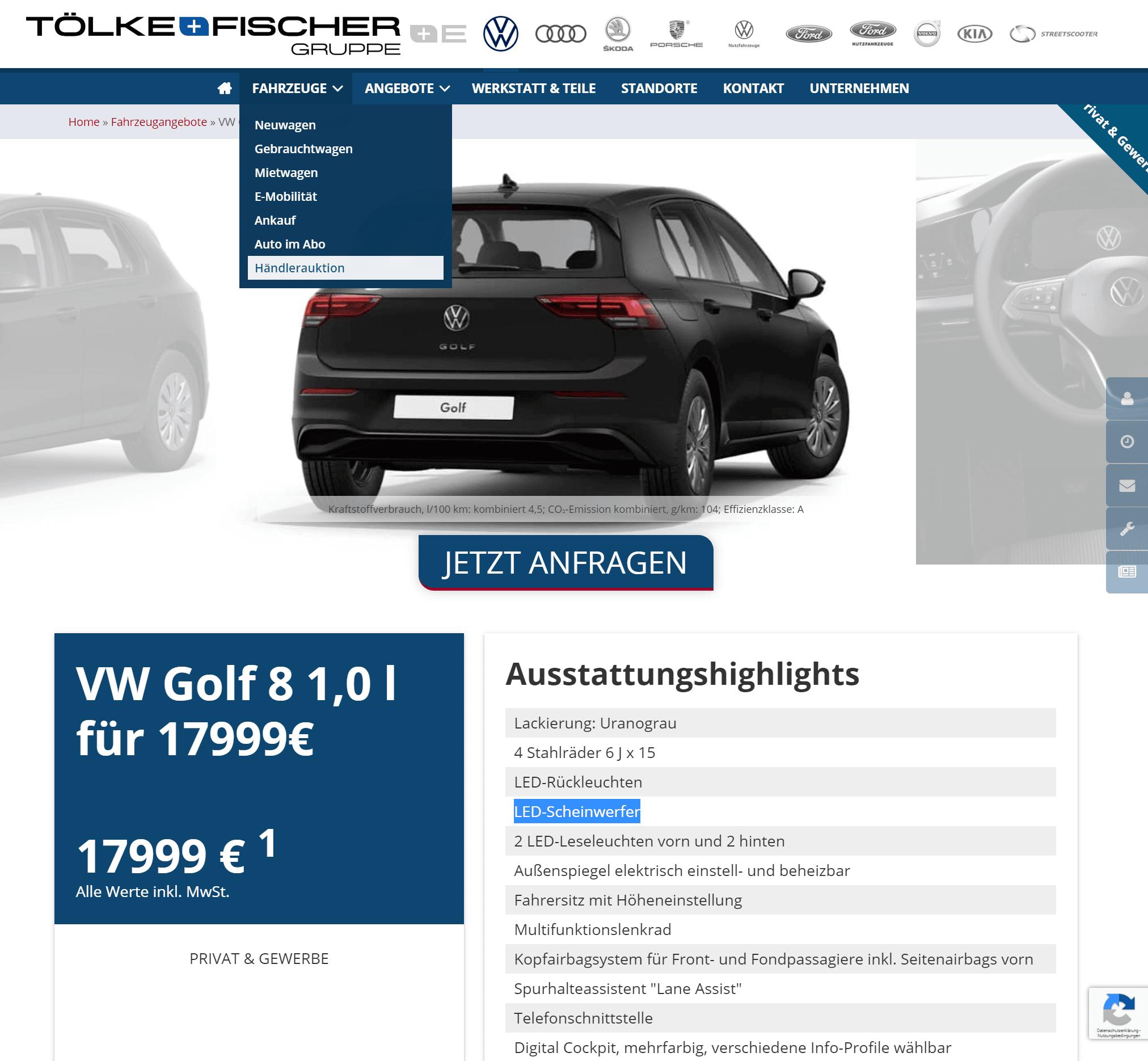 Kaufdeal Volkswagen Golf Viii 1 0 Tsi Opf 66kw Bei Tolke Fischer Bestellfahrzeug Preisvorteil Von 3 045 98 Euro Sparneuwagen De