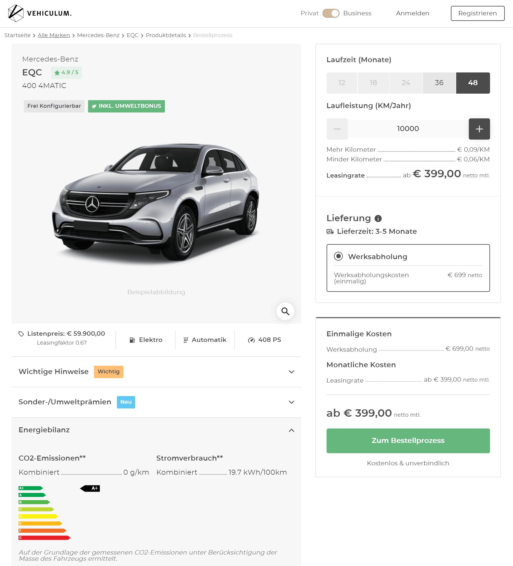 Mercedes-Benz EQC 400 4Matic Leasing Für 399 (503) Euro Im