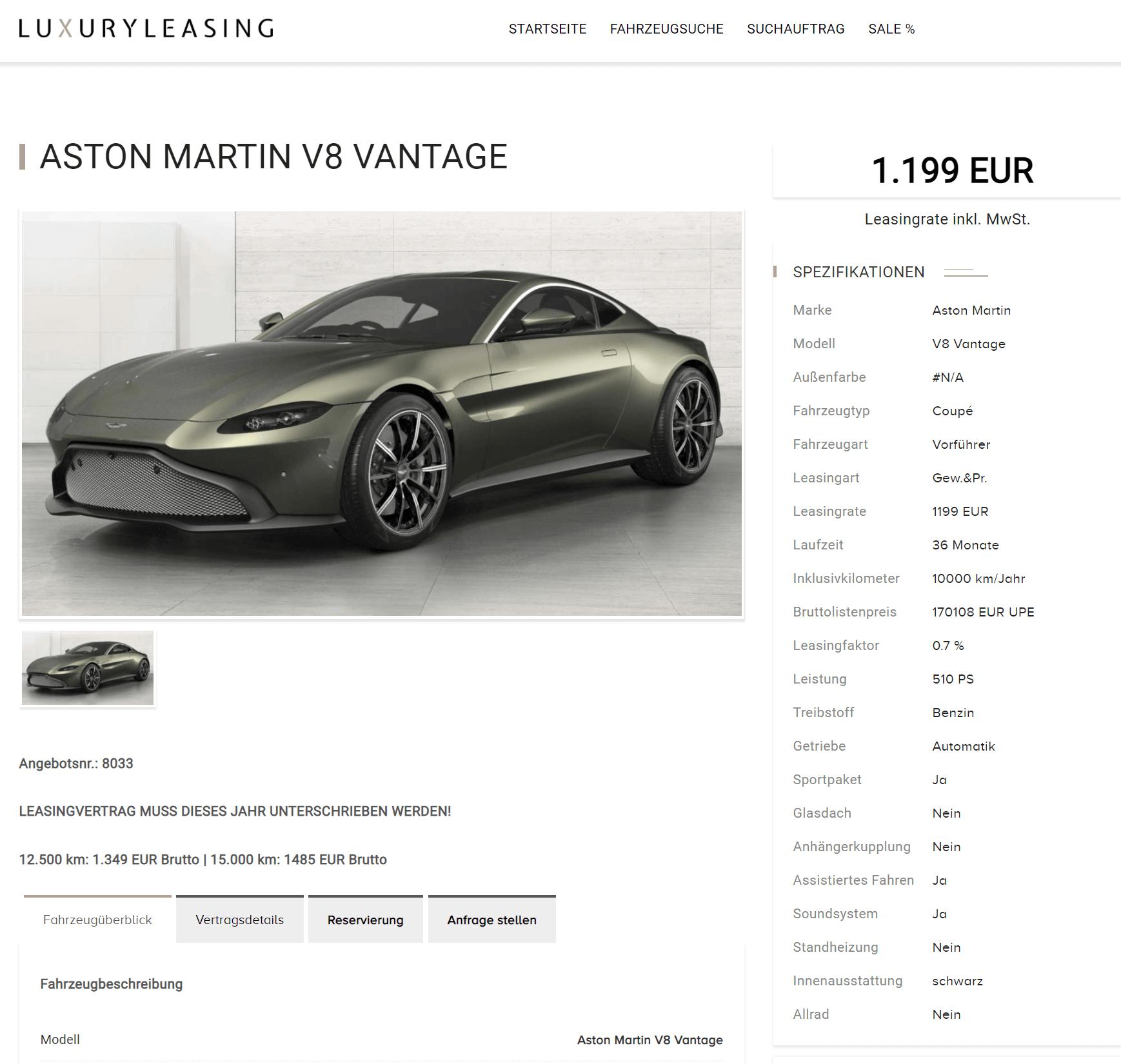 Aston Martin V8 Vantage Leasing Für 1 199 Mtl Brutto Sparneuwagen De